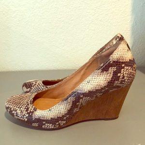 Clarks snakeskin wedge heels